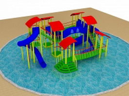 Small pool water park 3d model