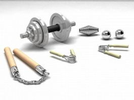 Gym and martial arts training equipment 3d model