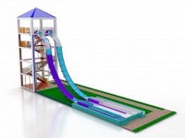 Water slide and pool 3d model