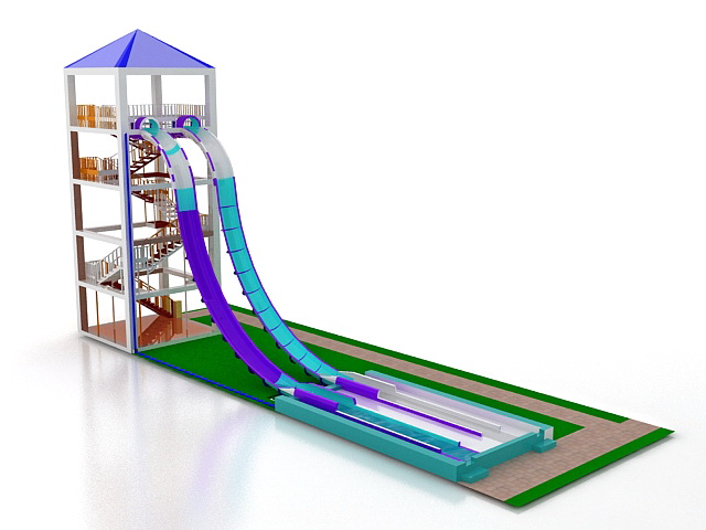 Water Slide And Pool 3d Model 3ds Max Files Free Download