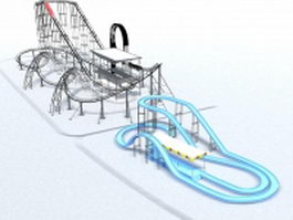 Roller coaster amusement rides 3d model