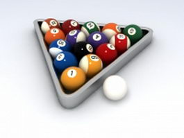 Billiard pool ball set 3d model