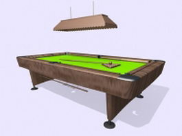 Pool table and island light 3d model