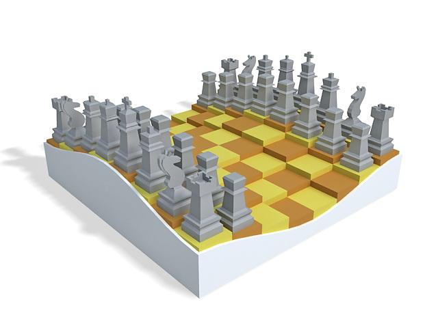 Chess set 3d rendering