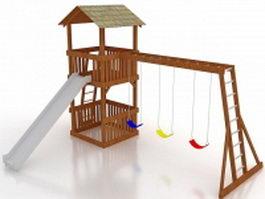 Garden wooden playhouse 3d model