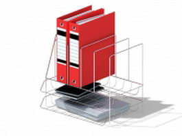 Wire desk organizer with file folder 3d model