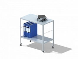 Mobile file cart with file folders 3d model