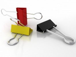 Colored binder clips 3d model