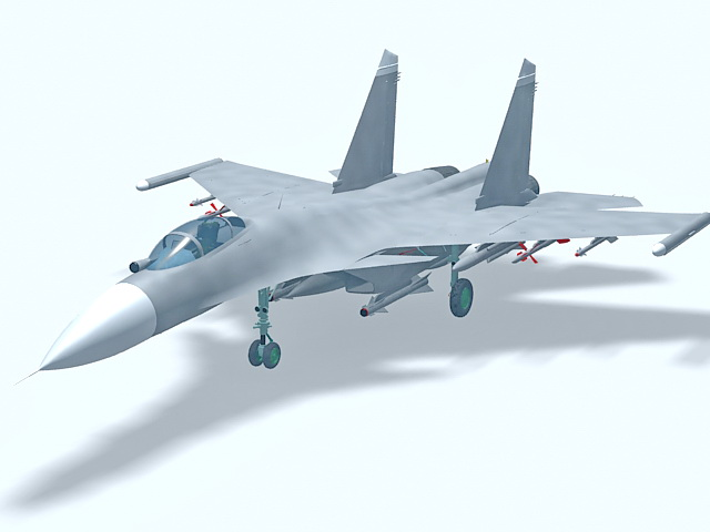 Sukhoi Su-27 fighter aircraft 3d model 3ds Max files free download