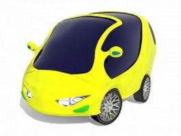 Yellow smart city car 3d model