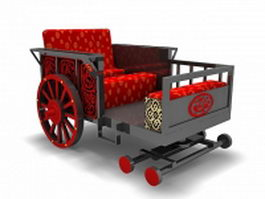 Ancient Chinese horse carriage 3d model