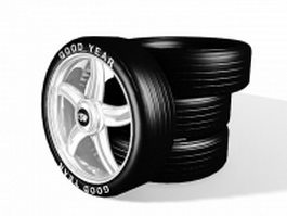 Alloy wheels and tires 3d model