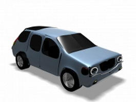 Blue cartoon car 3d model
