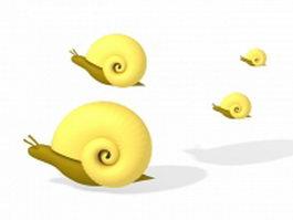 Land snails 3d model