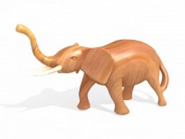 Wooden elephant sculpture 3d model