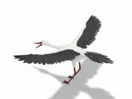 Long-necked crane 3d model