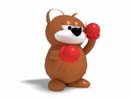 Bear boxing cartoon 3d model