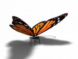 Tiger striped butterfly 3d model