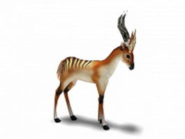 Black striped gazelle 3d model