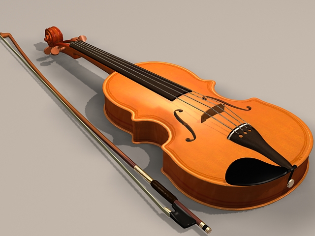 Violin with bow 3d model 3ds Max files free download - modeling