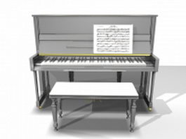 Piano with bench 3d model