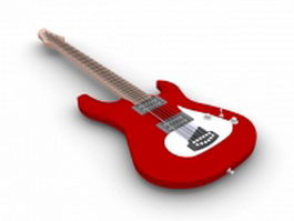 Red bass guitar 3d model