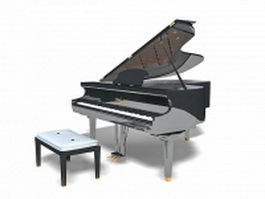 Grand piano with bench 3d model