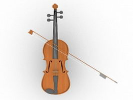 Violin with bow 3d model