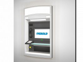 Wall mounted ATM kiosk 3d model