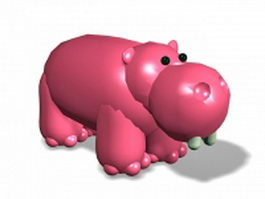 Cartoon hippopotamus toy 3d model