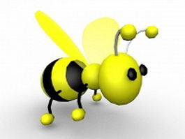 Cute cartoon bumble bee 3d model