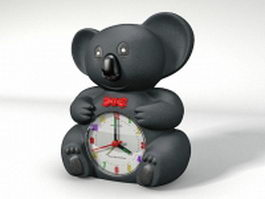 Black bear table clock 3d model