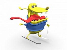 Cartoon dog skiing 3d model