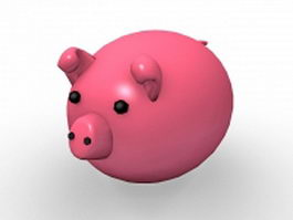 Pink pig cartoon 3d model