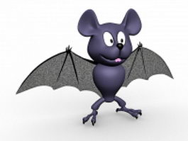 Cute bat cartoon 3d model