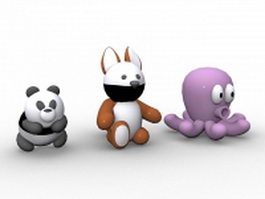 Panda,squirrel and octopus cartoon 3d model