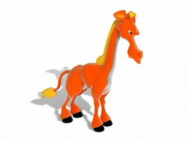 Orange giraffe cartoon 3d model