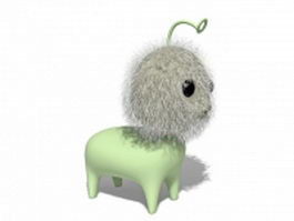 Plush cute monster stuffed animal 3d model