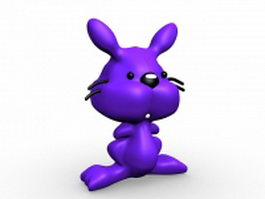 Purple cat cartoon 3d model
