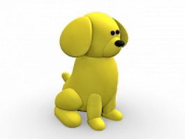 Yellow dog cartoon 3d model