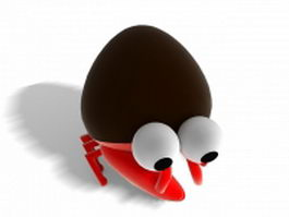 Cartoon hermit crab 3d model