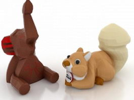 Elephant & squirrel toy 3d model