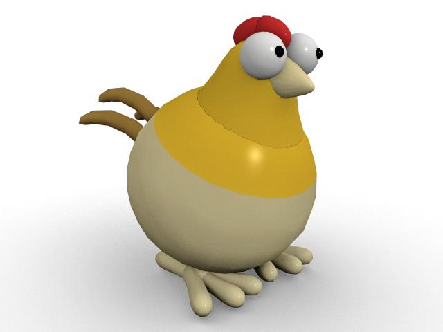 Cute cartoon hen 3d model