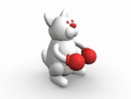 Cartoon rabbit boxing 3d model
