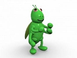 Cartoon green grasshopper 3d model