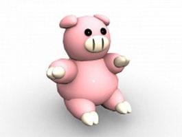 Cute pig cartoon character 3d model
