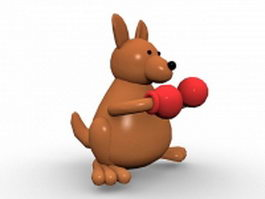 Boxing kangaroo cartoon 3d model