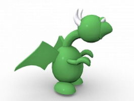 Green dragon cartoon 3d model