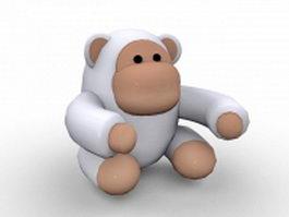 White Gorilla cartoon 3d model