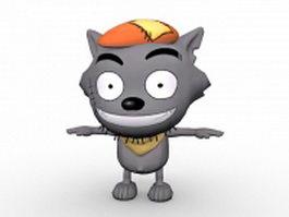 Cartoon wolf character 3d model